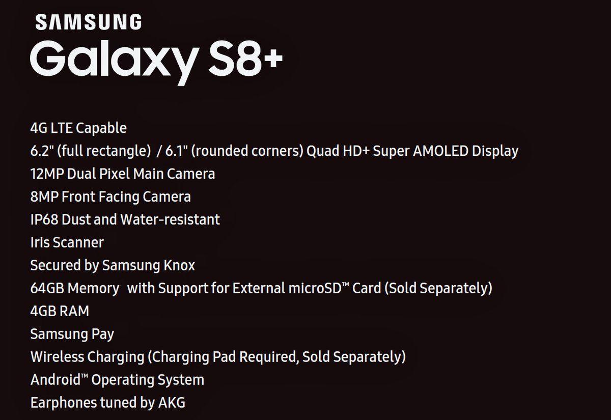 características samsung galaxy s8+