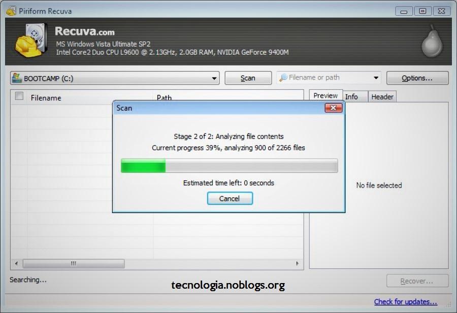 recuperar archivos con Recuva